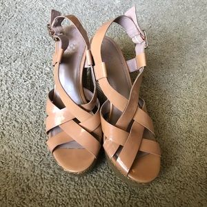 Vince Camuto Nude Patent Leather Wedges